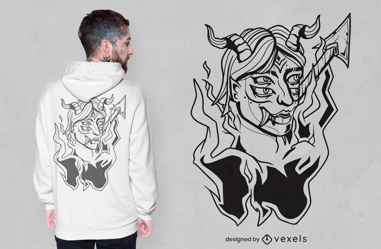 Design de t-shirt Demon on fire