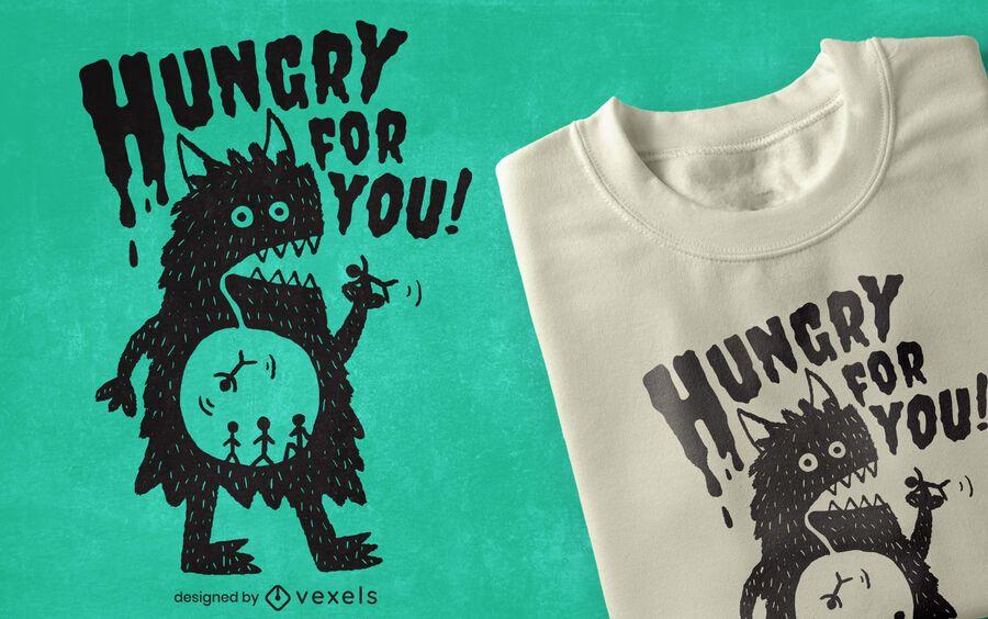 Diseño de camiseta de monstruo hambriento.