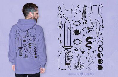 Diseño de camiseta de magia oscura.