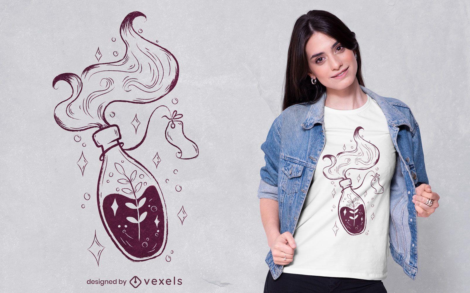 Diseño de camiseta de poción mágica floral.