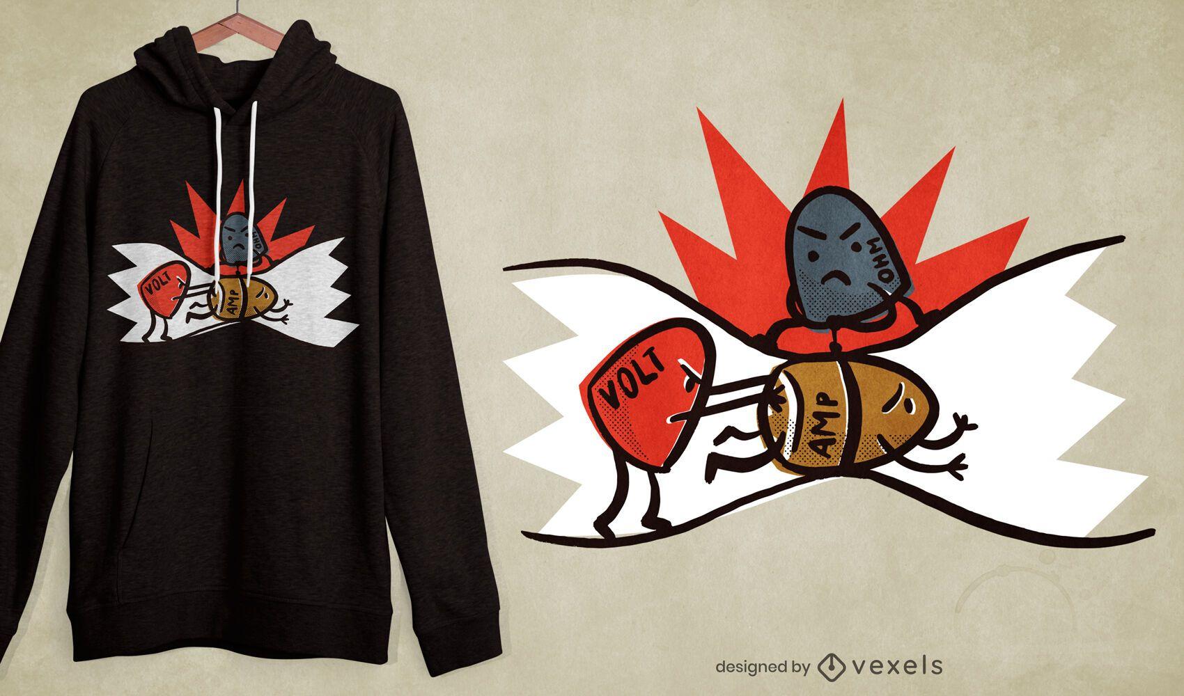 Design engraçado de camiseta elétrica