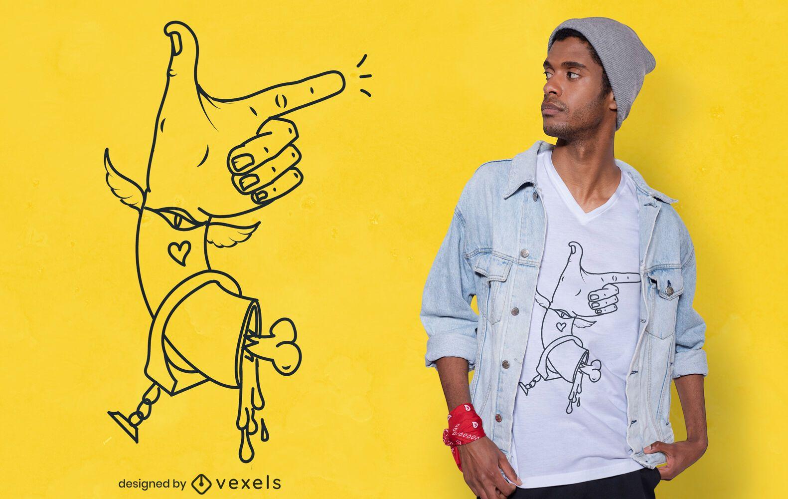 Diseño de camiseta de mano cortada