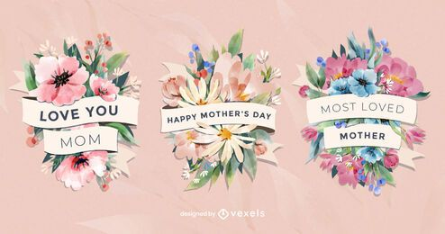 Floral watercolor Mother's Day badges