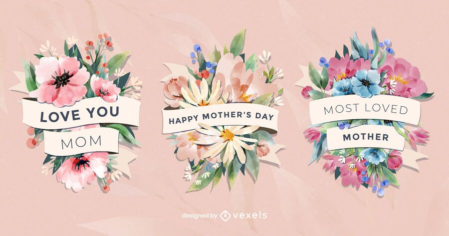 Insignias florales del día de la madre en acuarela