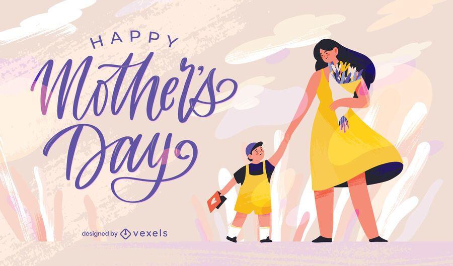 Ilustração de mãe e filho para o dia das mães
