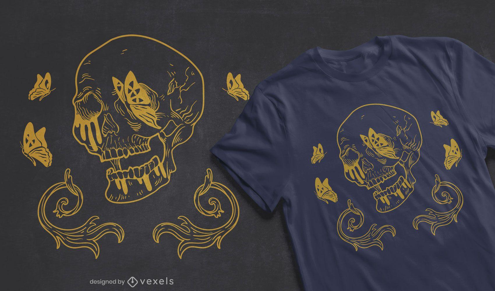 Diseño de camiseta de mariposas calavera
