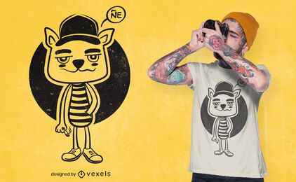 Cartoon cat smoking t-shirt design