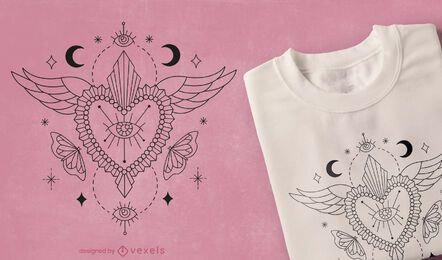 Mystical heart t-shirt design