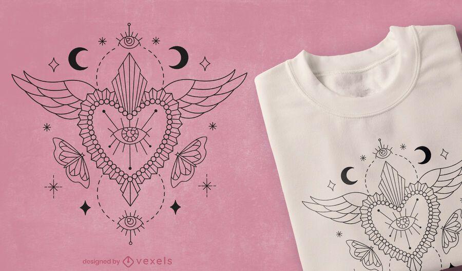 Diseño de camiseta de corazón místico.