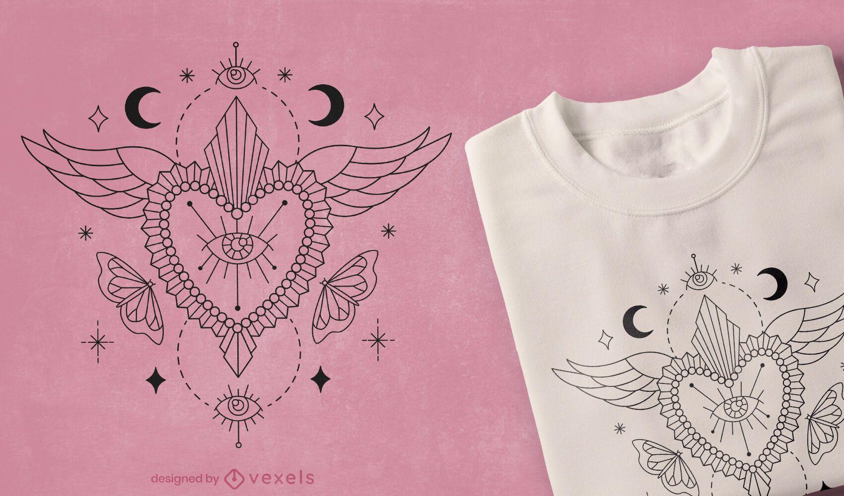 Mystical heart t-shirt design