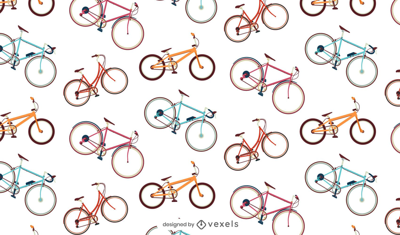 Colorful bicycles seamless pattern