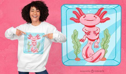 Design fofo de camiseta para aquário axolotl