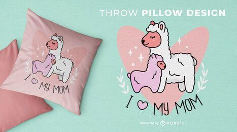 Llama mom throw pillow design
