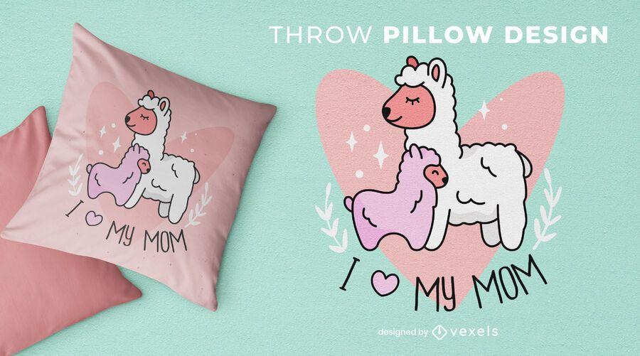 Diseño de almohada de tiro mamá llama