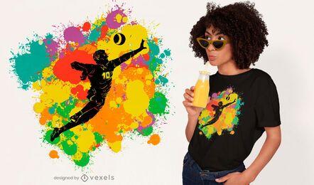 Diseño de camiseta de salpicaduras de color fistball