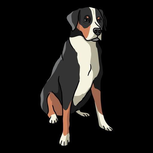 Big normal sitting dog color stroke