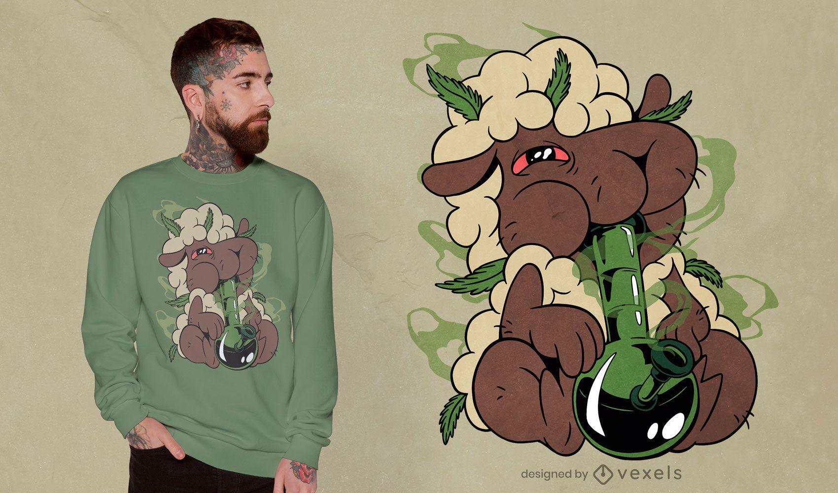Design de camisetas de ovelha com alto teor de maconha