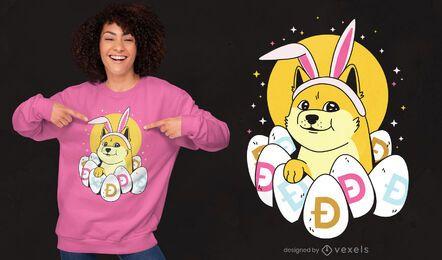 Design de t-shirt dogecoin da Páscoa