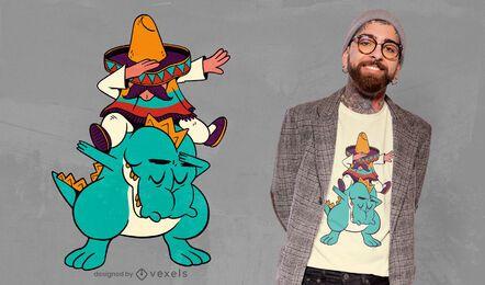 Design de camiseta mexicana de dinossauro montando