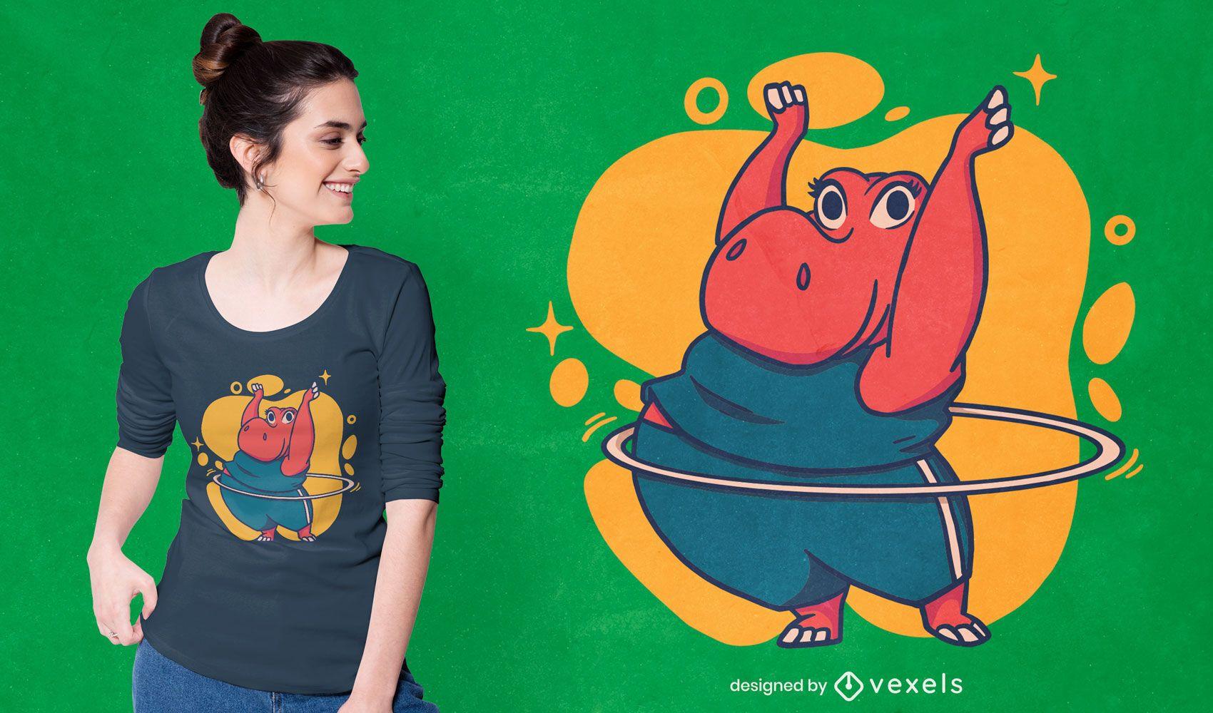 Diseño de camiseta de hipopótamo hula hoop