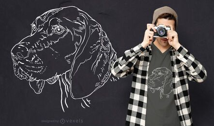 Diseño de camiseta de cara de perro de tiza