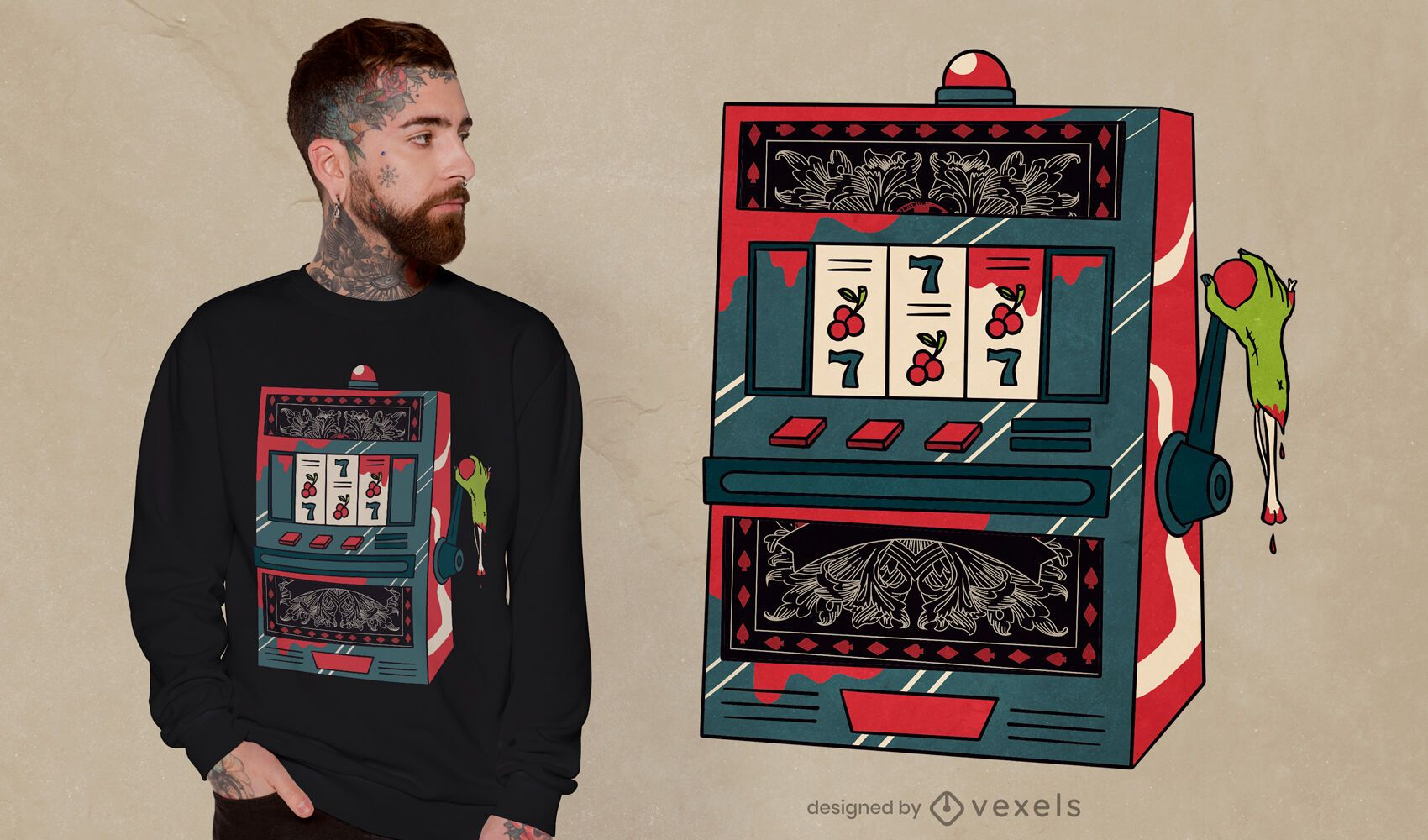 Design de camiseta zumbi caça-níqueis