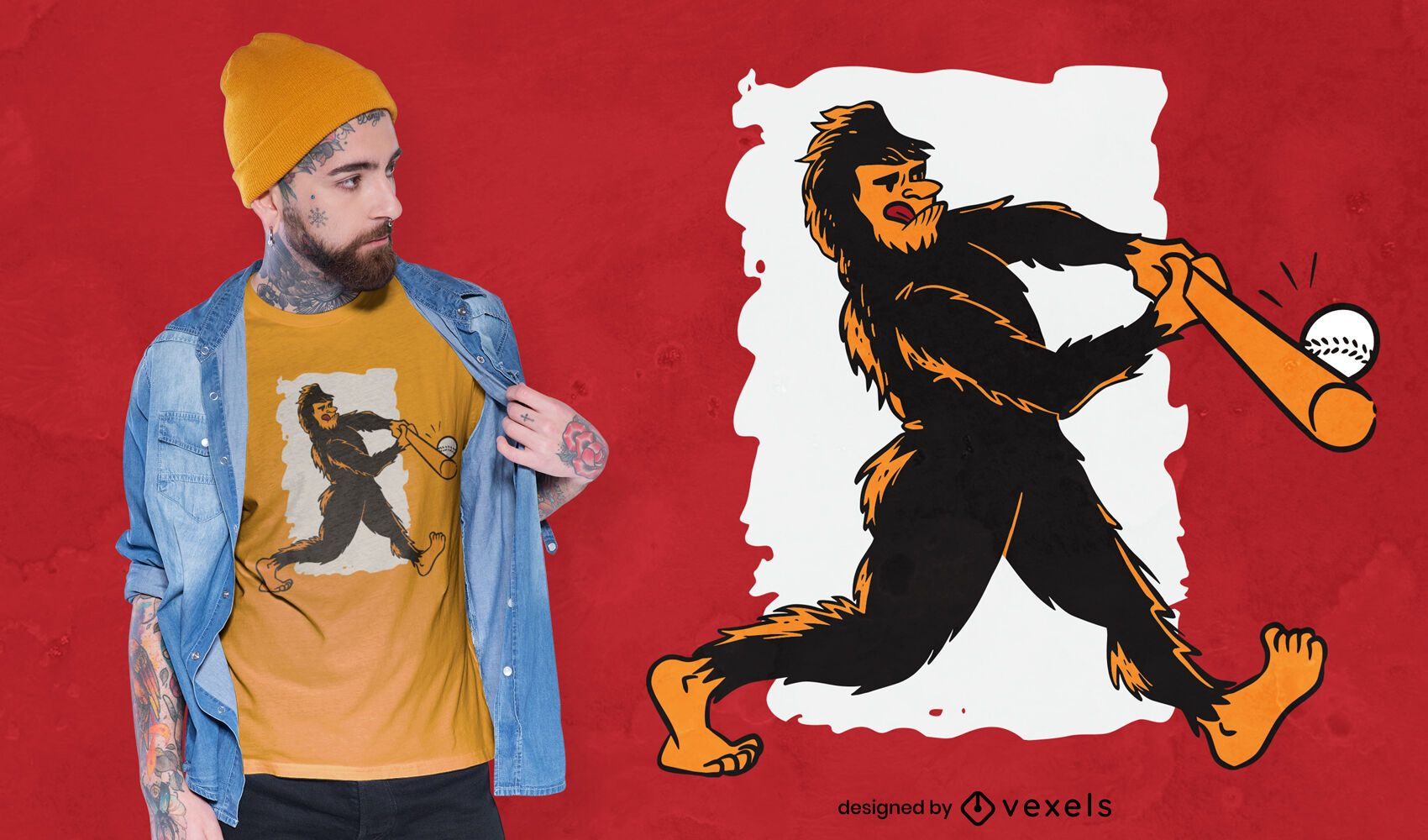 Baseball bigfoot t-shirt design