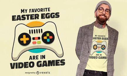 Diseño de camiseta de videojuegos de huevos de pascua.