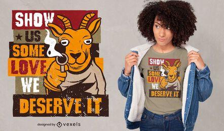 Diseño de camiseta de cabra con pistola.