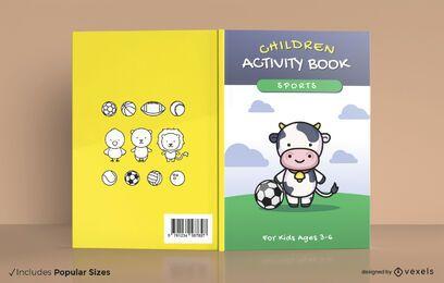 Diseño de portada de libro de actividades deportivas para niños.