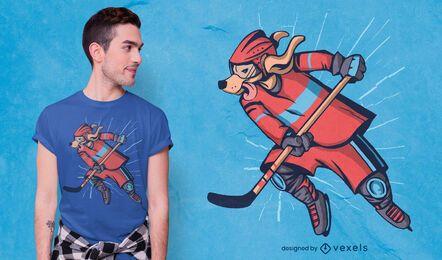 Diseño de camiseta de perro de hockey.