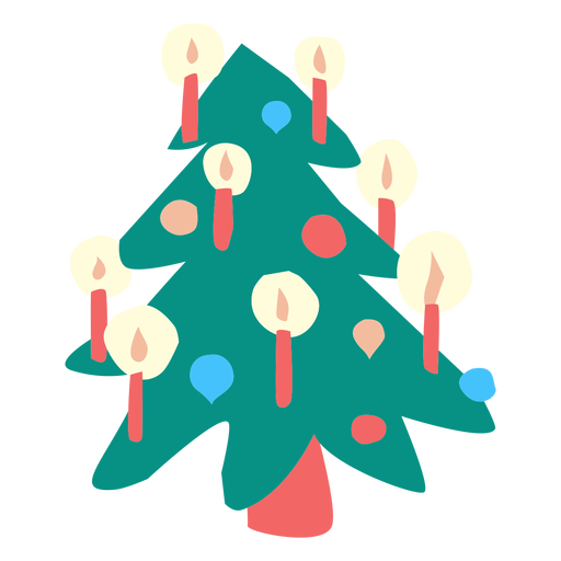 Christmas tree with ornaments flat