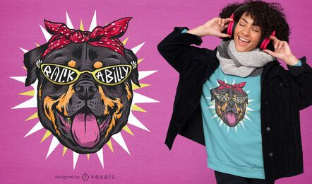 Diseño de camiseta de perro rockabilly rottweiler.