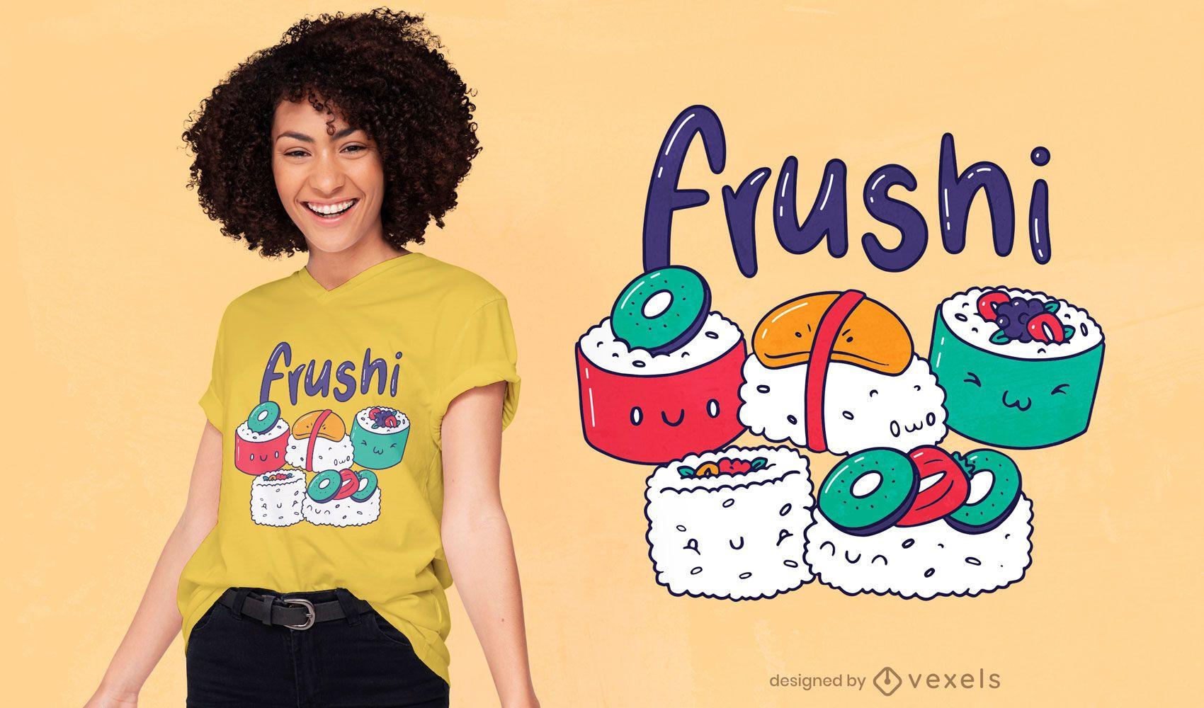 Diseño de camiseta de fruta sushi kawaii.