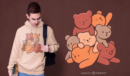 Diseño de camiseta de montaña de oso de dibujos animados