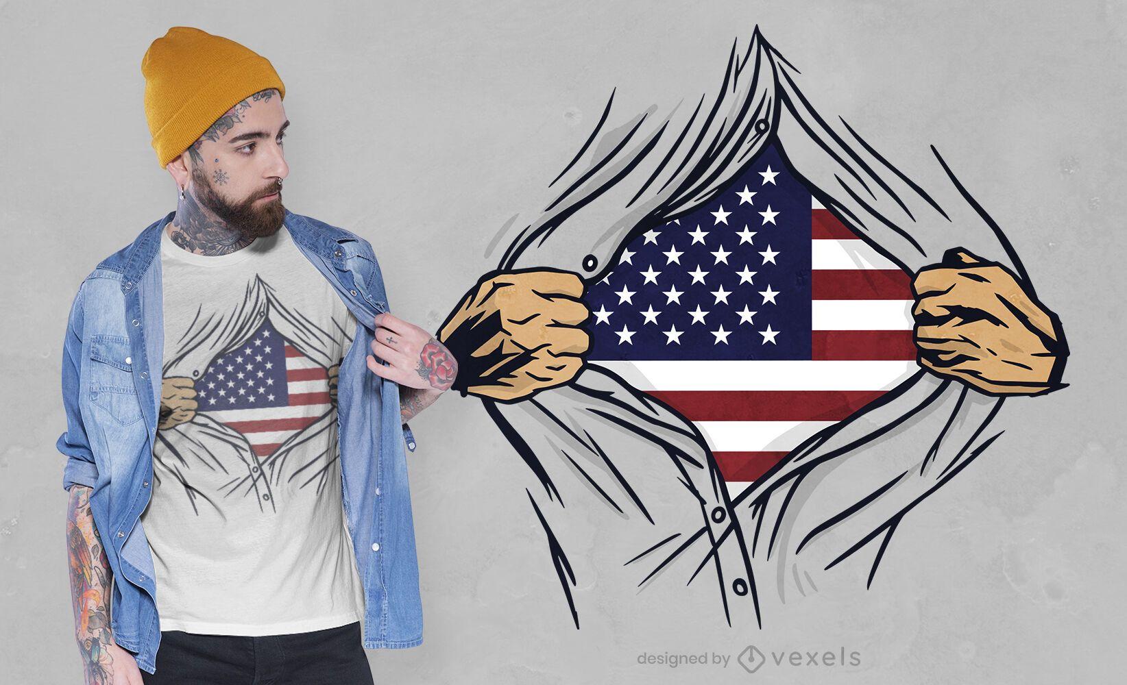 Diseño de camiseta de camisa abierta de Estados Unidos.