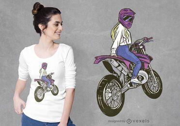 Diseño de camiseta de mujer rubia de motocross.