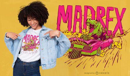 Paródia de filme t-rex dirigindo design de camiseta