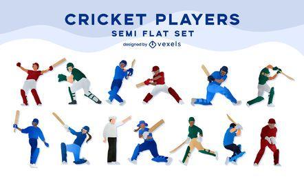 Conjunto plano de jugadores de cricket