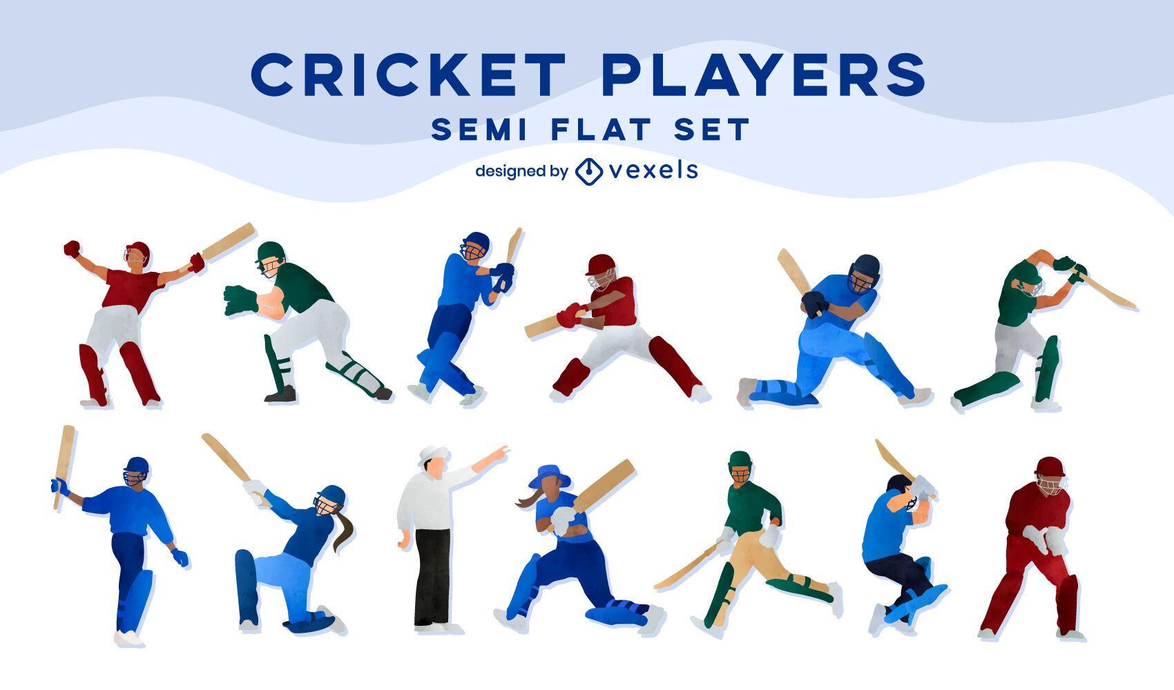 Cricket players flat set