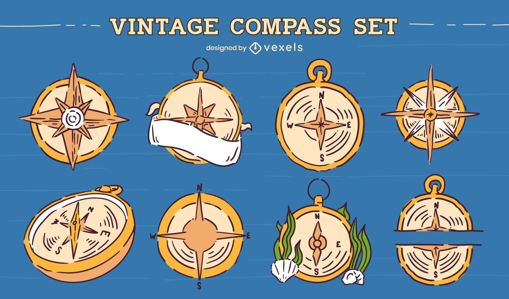 Vintage compass illustration set