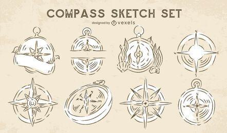 Conjunto de navegação de bússola doodle