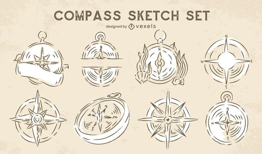Conjunto de navegación de doodle de brújula