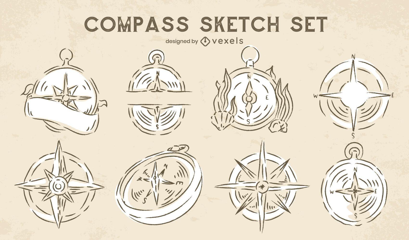 Compass doodle navigation set