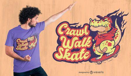 Diseño de camiseta con cita de dinosaurio patinador