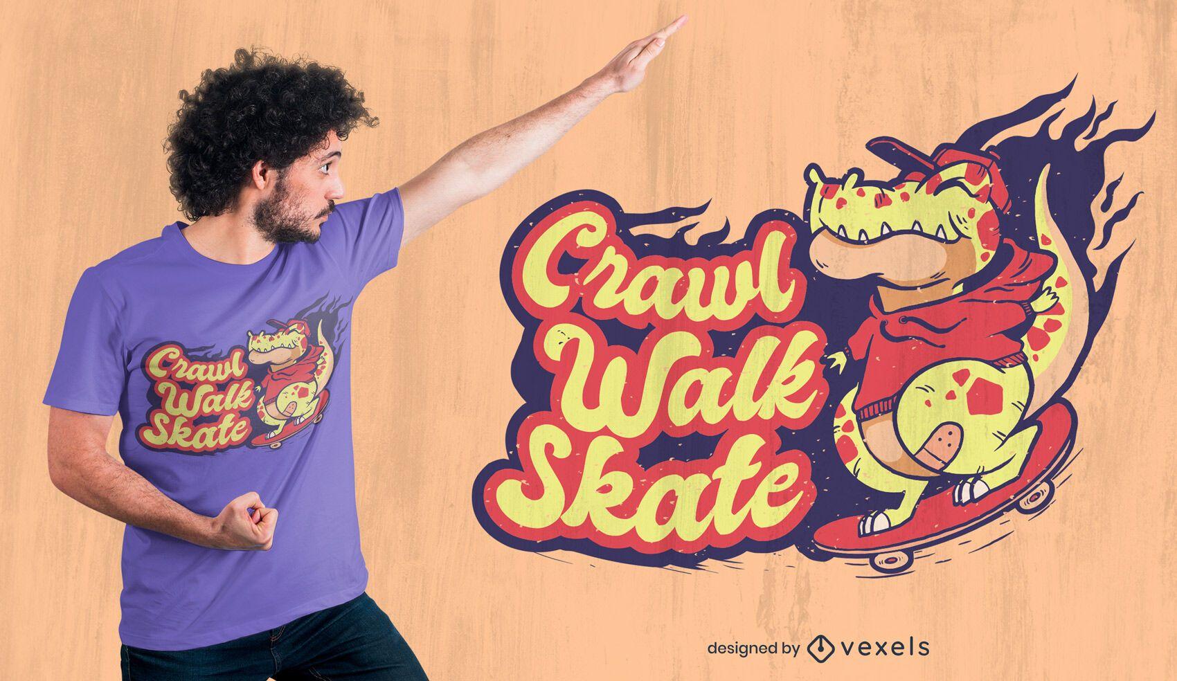 Skater dinosaur quote t-shirt design