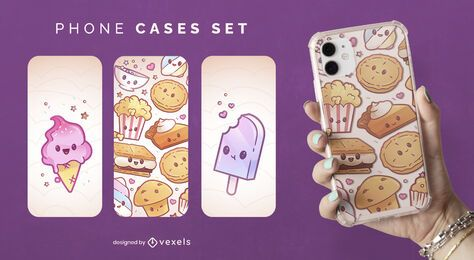 Kawaii sweets phone case set