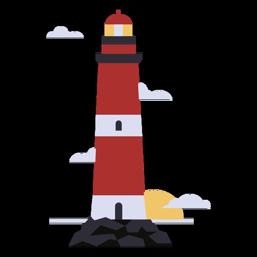 Lighthouse sunset flat