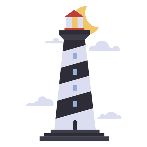 Lighthouse in the night flat
