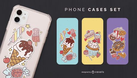 Sticker desserts phone case set